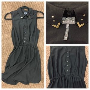 Sleeveless Black Dress with Gold Tipped Collar